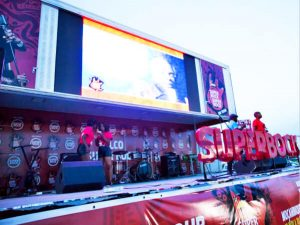 PA system and music band on Siwun event semi trailer stage