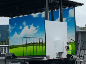 LED screen on mobile stage trailer