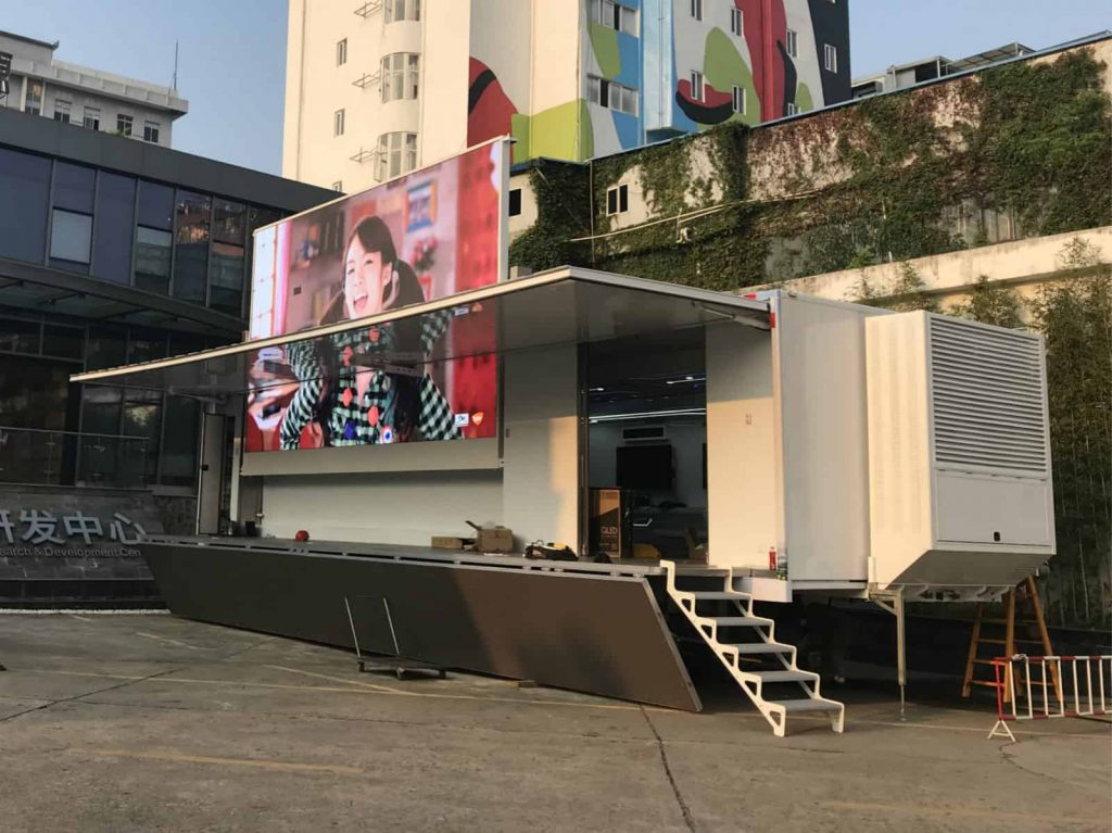 Huawei event semi trailer with large LED display
