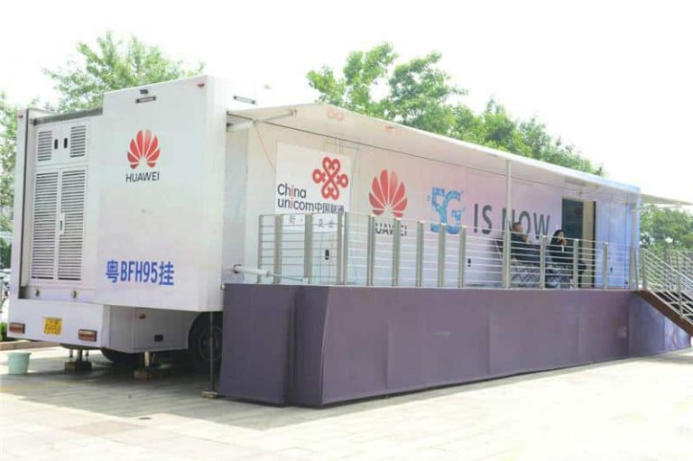 Huawei mobile 5G exhibition semi trailer in China