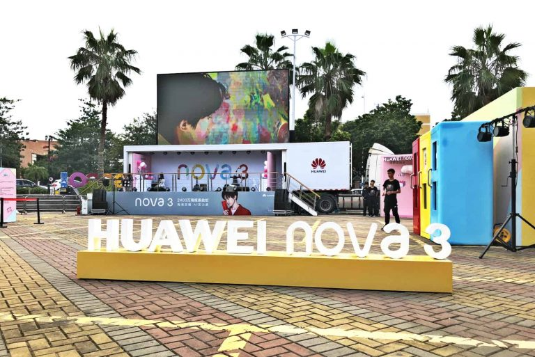 Huawei mobile event trailer in outdoor activity promoting