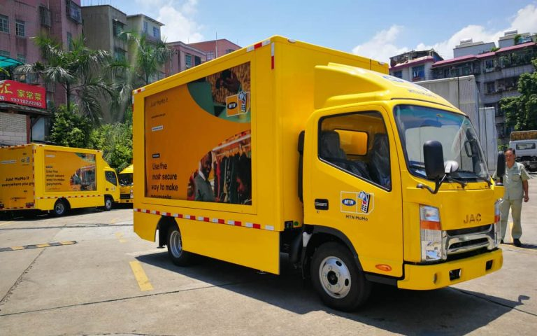 MTN mobile telecom promoting truck