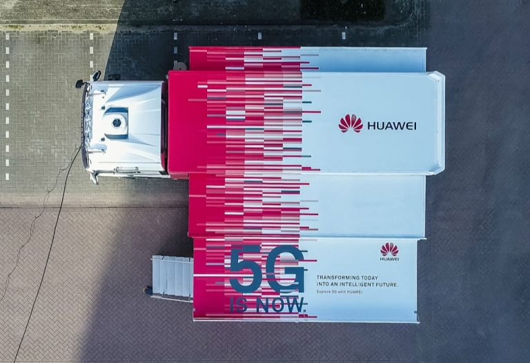 Top view of Huawei mobile 5G truck