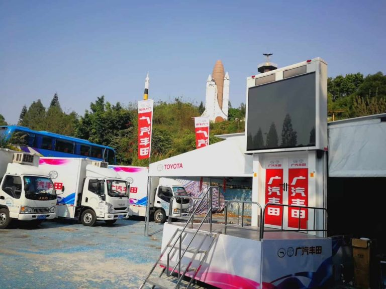 mobile stage truck with tent for Toyota promoting